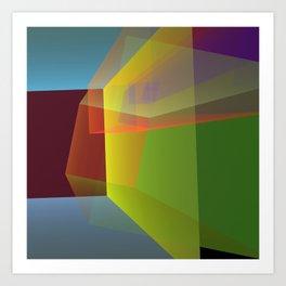Modern colourful translucent cubism Art Print