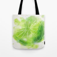 lime green Tote Bags featuring Lime by Ashley Stone