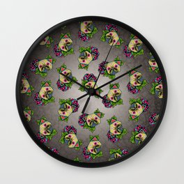 Pug in Fawn - Day of the Dead Sugar Skull Dog Wall Clock