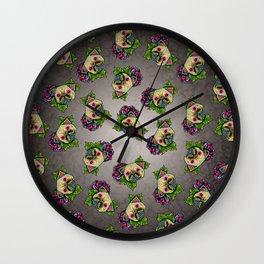 Pug in Fawn - Day of the Dead Sugar Skull Dog Wall Clock