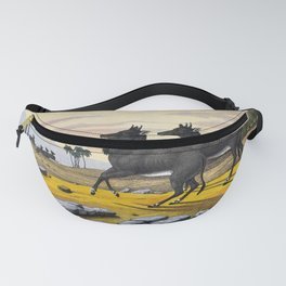 Two nilgai standing in a mountainous landscape. Coloured lithograph. Fanny Pack