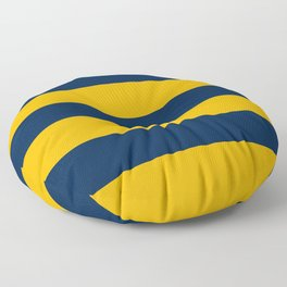 Slate Blue and Golden Yellow Stripes Floor Pillow