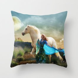 Lady in Blue - Spirit Connection Throw Pillow