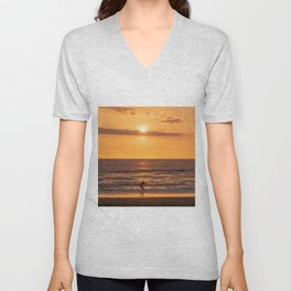 Surfer at Sunset in a Beach in California Unisex V-Neck