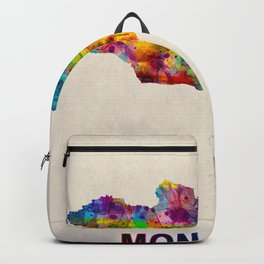 Mongolia Map in Watercolor Backpack