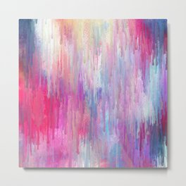 Colorful Abstract Paint Cascade Design Metal Print