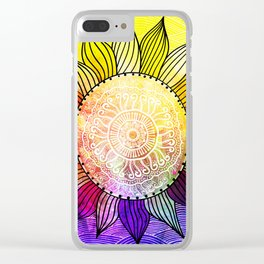 Rainbow Sun Design Clear iPhone Case