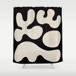 Mid Century Modern Organic Abstraction 352 Black and Linen White Shower Curtain
