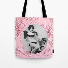 Femme Fatale - Pin Up - Pastel Pink Frame - Roses  Tote Bag