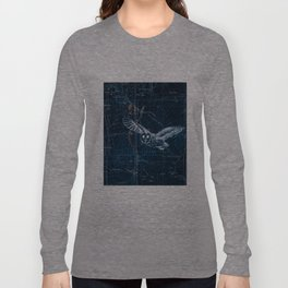 Owl at night, Blue Long Sleeve T-shirt