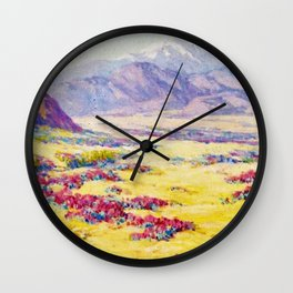 California Desert Wildflowers with Mountains Beyond by Benjamin Brown Wall Clock