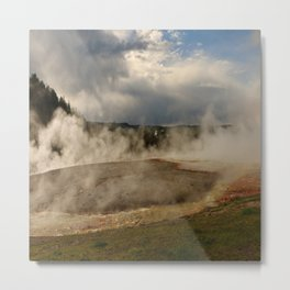 A Cloud Of Steam And Water Over A Geyser Metal Print