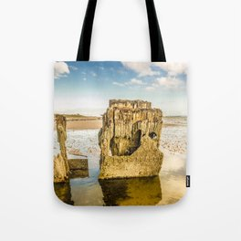 Groynes on Seamill Beach Tote Bag