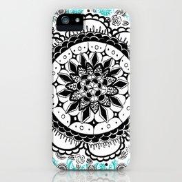 Teal and Black Mandala Pattern iPhone Case