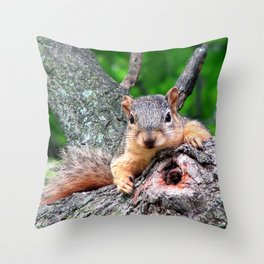 Squirrel with Knot Throw Pillow