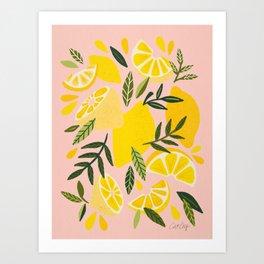 Lemon Blooms – Blush Palette Art Print