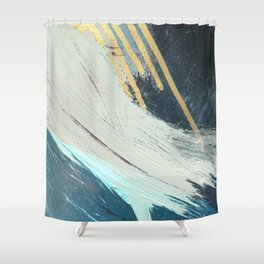 Karma: a bold abstract in blues and gold Shower Curtain
