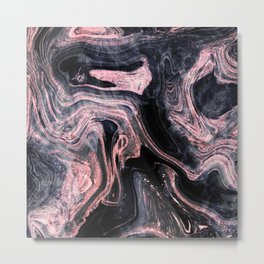 Stylish rose gold abstract marbleized design Metal Print