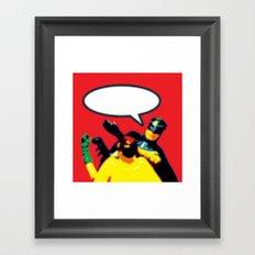 Robin and Bat Man in Action Framed Art Print