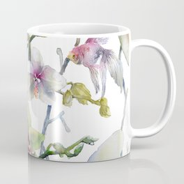 White and Pink Magnolias, Goldfish hiding, Surreal Coffee Mug