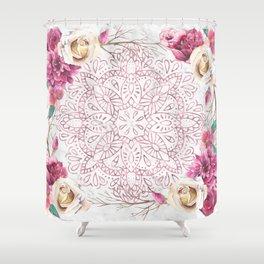 Rose Gold Mandala Garden on Marble Shower Curtain