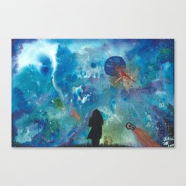 Looking Up Into Space, A Girl Wonders Canvas Print