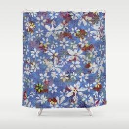 Autumn Petals on Dusty Blue Shower Curtain