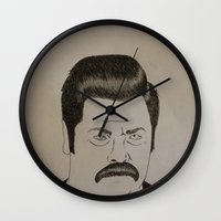 ron swanson Wall Clocks featuring Swanson by Clayton Craiger