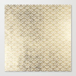 Elegant chic faux gold white japanese wave scallop pattern Canvas Print