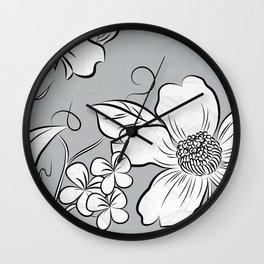 Merry Marsh Marigold - Black and White Wall Clock