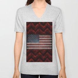 Sangria Red Digital Camo Chevrons with American Flag Unisex V-Neck