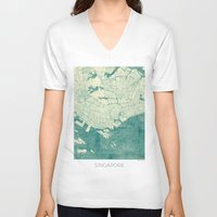 singapore V-neck T-shirts featuring Singapore Map Blue Vintage by City Art Posters