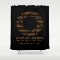 aperture Shower Curtains featuring Aperture Science by IS0metric