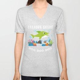 Grandpa Shirt - Grandpa Shark Unisex V-Neck