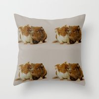 pigs Throw Pillows featuring Guinea pigs by Guna Andersone & Mario Raats - G&M Studi