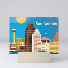 San Antonio, Texas - Skyline Illustration by Loose Petals Mini Art Print