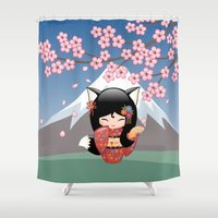 kitsune Shower Curtains featuring Japanese Kitsune Kokeshi Doll by Natalia Linn