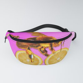 Honey bees on a lemon fruit bicycle Fanny Pack