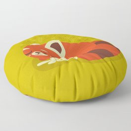 Sleeping Red Panda and Bunny / Cute Animals Floor Pillow