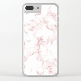 Pink Rose Gold Marble Natural Stone Gold Metallic Veining White Quartz Clear iPhone Case