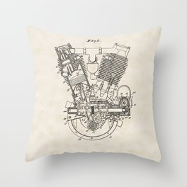 Internal Combustion Engine Vintage Patent Hand Drawing Throw Pillow