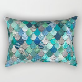 Mermaid Pattern, Sea,Teal, Mint, Aqua, Blue Rectangular Pillow