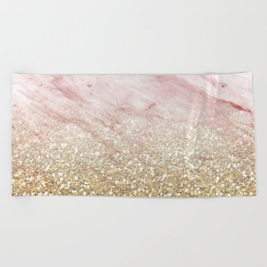 Rose gold marble sunset gradient Beach Towel