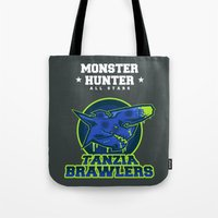 monster hunter Tote Bags featuring Monster Hunter All Stars - The Tanzia Brawlers by Bleached ink