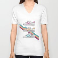 sneakers V-neck T-shirts featuring My old Sneakers by Crazy Cool Animals