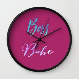 Boss Babe Watercolor Wall Tapestry Wall Clock