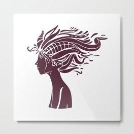 Girl Wild Hair Art Portrait Metal Print