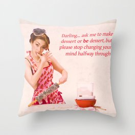 """Make Up Your Mind"" - The Playful Pinup - Baking Housewife Pinup by Maxwell H. Johnson Throw Pillow"