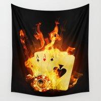 poker Wall Tapestries featuring Burning Poker Cards by FantasyArtDesigns