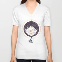 lotus V-neck T-shirts featuring Lotus by Hector Mansilla